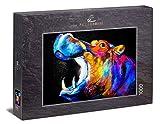 Ulmer Puzzleschmiede - Puzzle 'Funky Hippo': Puzzle de 1000 piezas - Colorido dibujo artístico de un hipopótamo sobre fondo negro