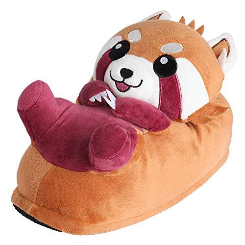 "corimori Süße Plüsch Hausschuhe (10+ Designs) Roter Panda ""Ponva"" Slipper Einheitsgr. 25-33,5 Unisex Pantoffeln Rot Braun"