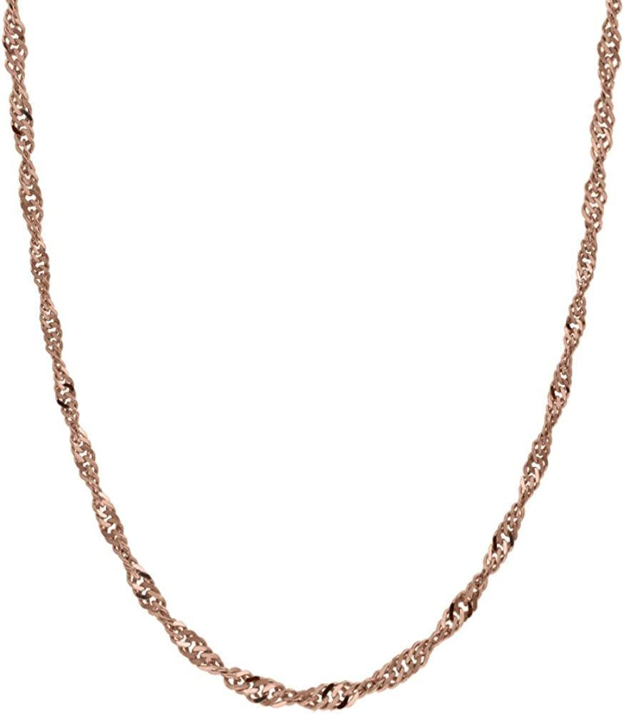 Honolulu Jewelry Company 14K Solid Rose Gold Singapore Twisted Curb Chain 16