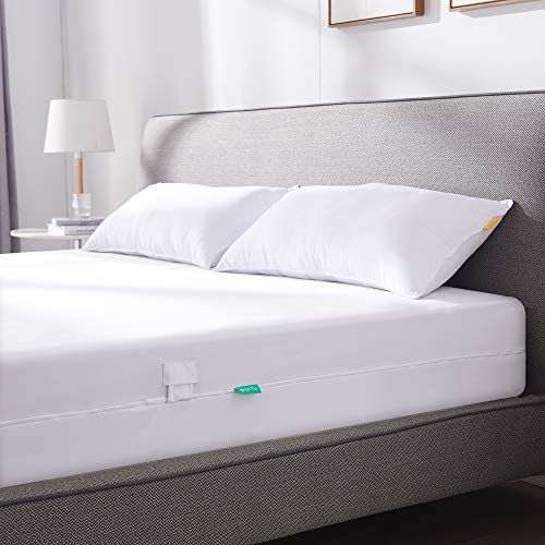 UTTU Funda de colchón impermeable 120 x 200 cm, elástica, antiácaros, con cremallera en los 4 lados, funda de colchón para 15 – 20 cm de profundidad