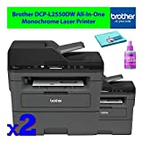 Brother DCP-L2550DW All-in-One AIO Compact Multifunction Wireless Monochrome Laser Printer with Auto-Duplex (2-Pack) Bulk Office Bundle - Includes - Essential Cleaning Kit
