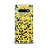 Lex Altern TPU Case for Samsung Galaxy s10 Plus 10e Note 10 5G 9 s9 s8 Realistic Bees Clear Cover Honeycombs Slim fit Lightweight Yellow Print Soft Design Colorful Gift Flexible Woman Smooth Elegant