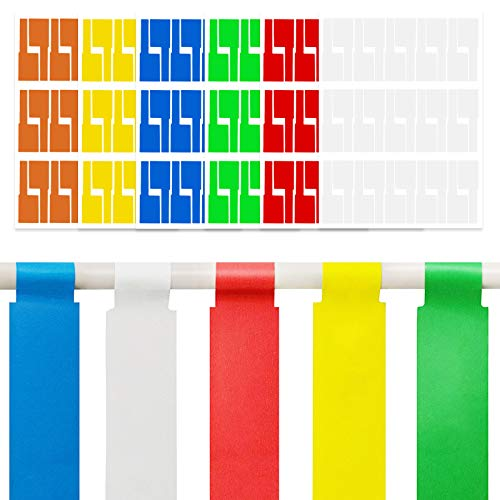 kiniza 180PCS Cable Labels, Self Adhesive Cable Label Colorful Waterproof Cord Labels Tags, Tear Resistant Cable Tags Wire Labels for Cable Management, Write on Stickers for Laser Printer (6 Sheets)