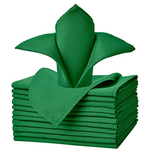 VEEYOO Cloth Napkins - Set of 12 Pieces 17 x 17 Inch Solid Polyester Table Napkins - Soft Washable and Reusable Dinner Napkin for Weddings, Parties, Restaurant (Green Napkins Cloth)