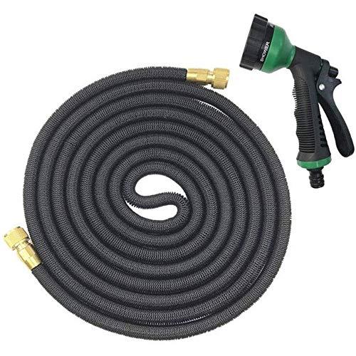 Jardin d'eau Tuyau d'arrosage télescopique flexible magique Tuyau à haute pression avec Pistolet for voiture tuyau en plastique tuyau d'arrosage-50FT (15M) Noir (Couleur: Noir, Taille: 50FT (15M)) Zix