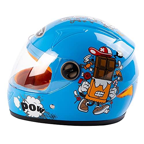 COOKTOP Motocross-Helm Für Kinder, Motorradhelm Für Kinder, Jungen & Mädchen, Cartoon-Stil Halbhelm, Outdoor-Sport, Sonnenblende Für 3-8 Jahre Alte Kinder,Blau