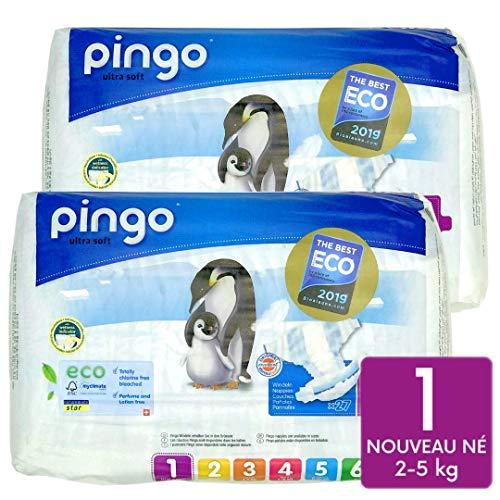 Pingo – Lote de 2 pañales ecológicos para bebé, talla 1, recién nacido, 2 – 5 kg, con indicador de humedad ultrasuave