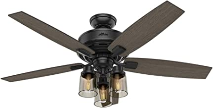 Hunter Indoor Ceiling Fan, with remote control - Bennett 52 inch, Black, 54189