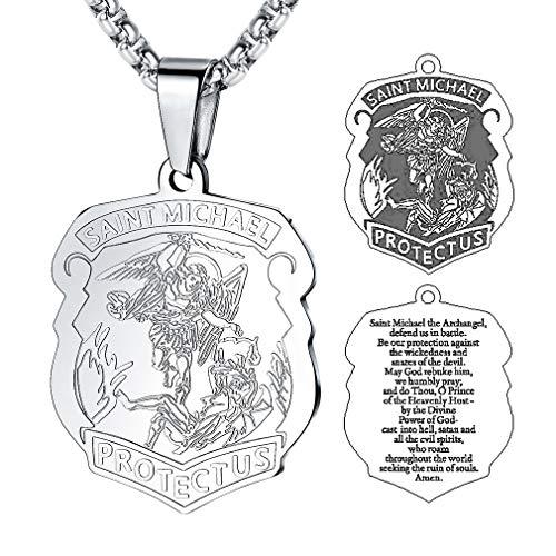 FaithHeart Saint Michael Anhänger, Schutzpatron Heiliger Michael Kette -Die Schildform Anhänger der SchutzHeiligern, Silber Herren Halskette als Beste Segnen Geschenke