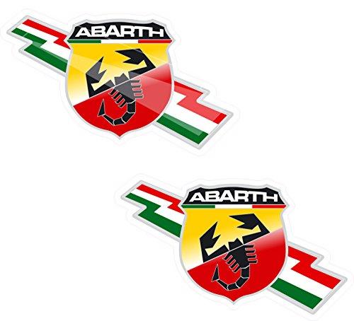 2x 100mm Abarth Italienisches Aufkleber Abziehbilder Qualität gedruckt Vinyl Label