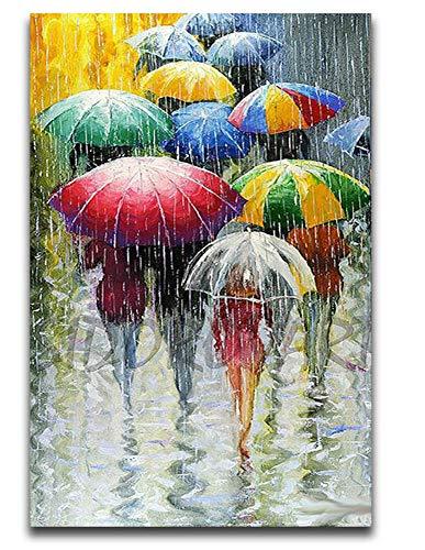 dbzlp DIY gemälde ausmalbilder nach Zahlen auf leinwand abstrakt rot Regenschirm Kunstwerk Farbblock handgemacht für wohnkultur