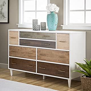 8-Drawer Mid-Century Style Christian Rubber Wood Dresser With Metal Antique Pulls