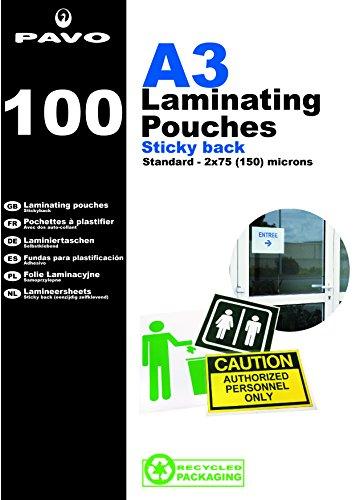 Pavo 8004652 Laminierfolien DIN A3, selbstklebend, 100-er Pack, glänzend