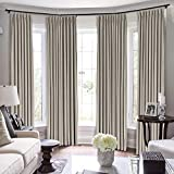 Drapifytex Pinch Pleated Drapery Velvet Room Darkening Curtain, Bedroom Curtain Livingroom Panel, Gray Beige Curtain, 58 Inches Width by 84 Inches Length