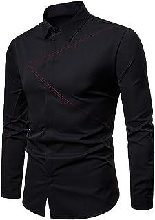 Camicie Casual da Uomo Camicia A Maniche Lunghe A Contrasto Camicie Traspirante Shirt Slim-Fit Stiro Facile Abito Festa Ma...