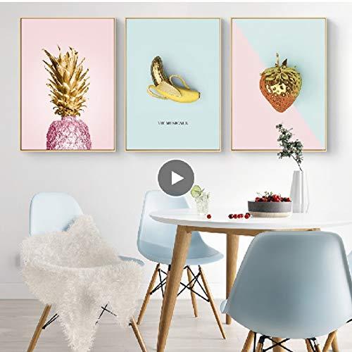 XWArtpic Nordic Neue Ins Vergoldete Früchte Banana Rosa Ananas Leinwand Gemälde Poster Drucken Wandkunst Bilder Wohnzimmer Decor H 30 * 40 cm