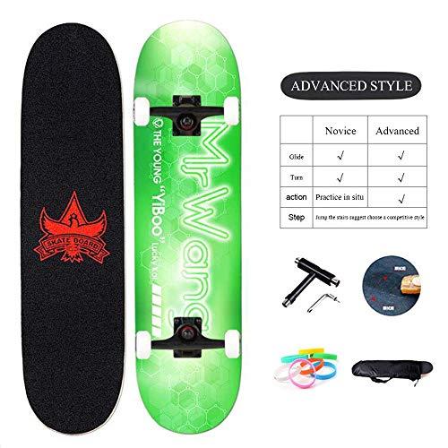 Skateboards Enfants Double Kick Trick Board Complète Apportez Sac à Dos et Outils Ultrasport Longboard Drop-Through Freeride Skating Débutants Filles Garçons