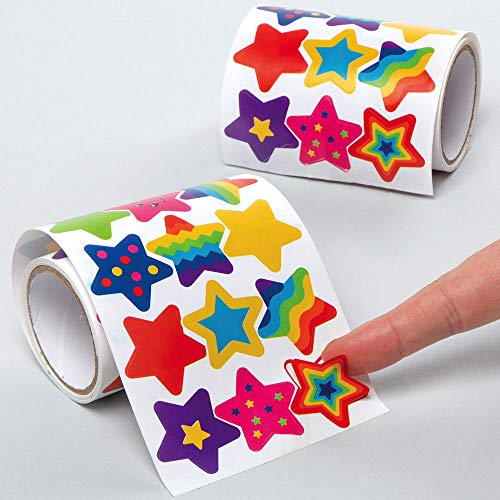 Baker Ross AX419 Star Sticker Roll Value Pack - Pack of 600, Kids Stickers, Ideal for Children's Arts and Crafts Projects, Great for Card Making and Scrapbooking