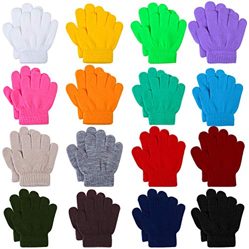 Cooraby 16 Pairs Winter Kids Warm Magic Gloves Full Fingers Stretchy Knitted Gloves for Boys or Girls (Multicolor A, 6-11 Years)