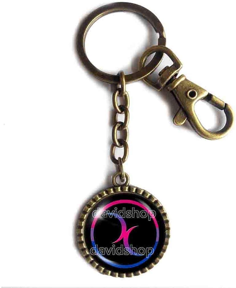 Double Moon Bisexual Key Chain Key Ring Cute Keyring Car Pride Flag Symbol Lgbt Lgbtq Crescent Cosplay