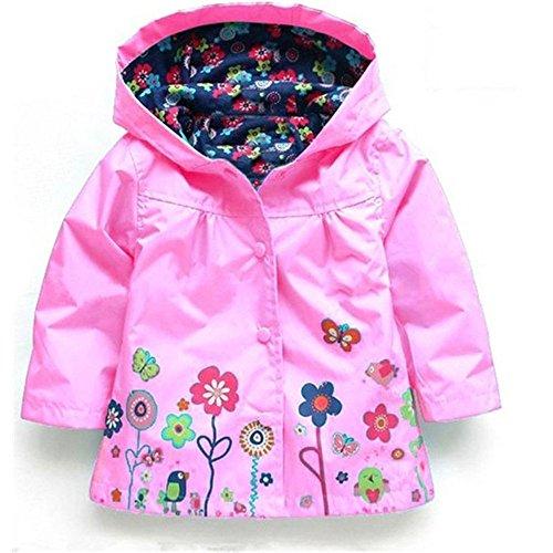 Dinglihuaqu Kinderregenponcho winddichte regenjas meisjes regenjas groen regencoat roze bloemen kinderen mantel raincoat meisje schattig X-Large