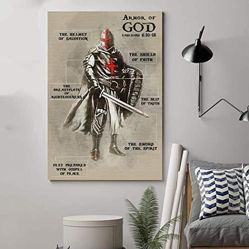 Knight Templar Canvas - Armor of God Canvas Wall Art Canvas 0.75 Inch, Home Decor (Size 8x12, 12x18, 16x24, 24x36 Inches)