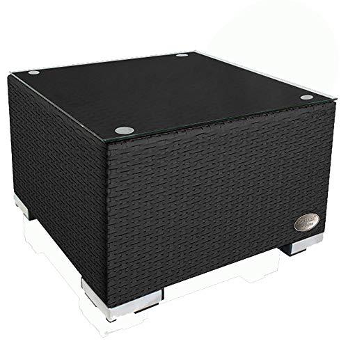 RS Trade 'Toscana' Polyrattan Beistelltisch mit verstärktem Alu-Gerüst und Temperglas Tischplatte (bis 90 kg als Hocker nutzbar), integrierte Spannbänder und höhenverstellbare Standfüße, Schwarz