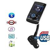 Trasmettitore FM Bluetooth, senza fili FM da auto, adattatore kit da auto con USB di ricarica per iPhone, Samsung, LG, HTC, Nexus, Motorola, Sony Smartphone Android