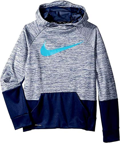 Nike Youth Boys Athletic Dri fit Pullover Performance Therma Hoodie (Gray/Blue, Size Small)