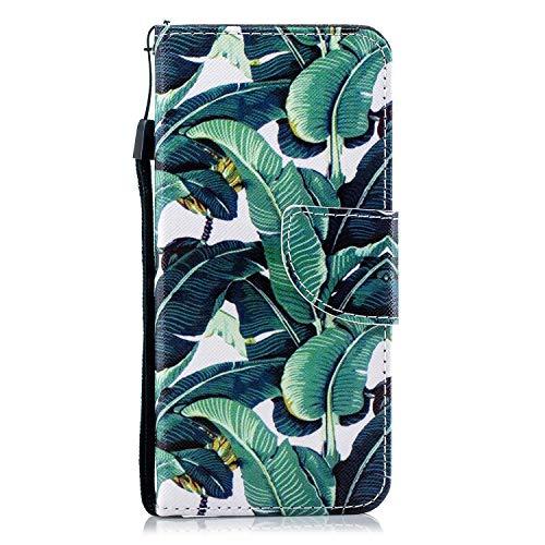 Uposao Kompatibel mit Galaxy J4 2018 Leder Tasche Schutzhülle Handytasche Brieftasche Ledertasche Lederhülle Bunt Muster Klapphülle Book Case Schutzhülle Flip Case Cover,Baum