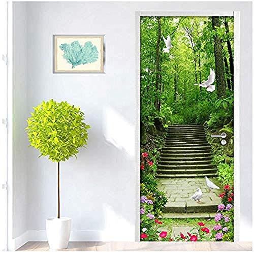 Deursticker groen bos duif stenen stappenteller waterdicht keukendeur sticker DIY zelfklevende vinyldeur wallpaper-77X200cm