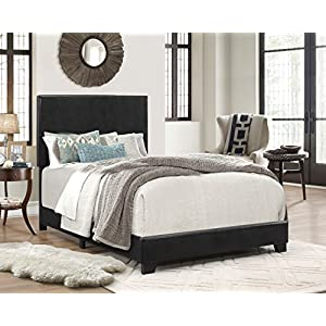 51XsfI00F9L. SS300  - Crown Mark Erin Upholstered Panel Bed in Black, Twin