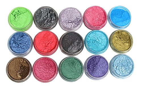 Soap Dye Mica Powder Pigments for Bath Bombs Soap Making Colorant Set,15 Colors by Sun Cling