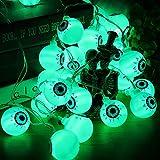 Halloween Grüne Augapfel-Lichterkette mit Fernbedienung, 30 LEDs Batteriebetrieben Wasserdicht Augapfel-Lichter mit 8 Beleuchtungsmodi für Halloween Party Indoor Outdoor Garten Yard Dekorationen - 5