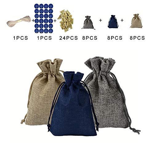 SNIIA 24 adventskalender stoffen tas 24 digitale stickers, DIY zakken met hanger decoraties zakken opbergtas voor kleine voorwerpen