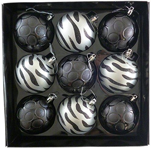 christmasshop Confezione da 9-8 Decorato Nero/Argento 8 Centimetri Albero di Natale Bagattelle