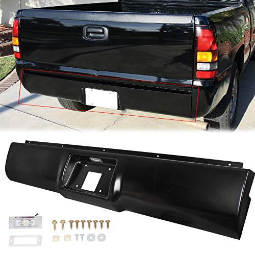 ECOTRIC Rear Steel Roll Pan bumper License Plate W/Lights W/screws W/ Plate Box Compatible With 1988-1998 Chevrolet Silverado / GMC Sierra C/K Series C1500 C2500 C3500 K1500 K2500 K3500