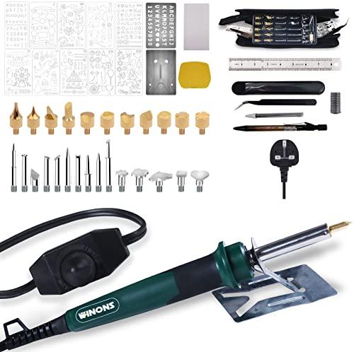 WINONS Pirograbador de Madera Kit WBT-0004, Kit de Pirograbador Extendida para Adultos 54 piezas con Interruptor de Temperatura Ajustable