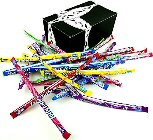Wonka Laffy Taffy Ropes 6-Flavor Variety: Four 0.81 oz Packages Each of Strawberry, Banana, Cherry, Grape, Sour Apple, and Wild Blue Raspberry in a BlackTie Box (24 Items Total)