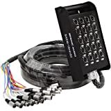 Seismic Audio - 16 Channel XLR SNAKE CABLE 50' long - 16 XLR sends and 4 XLR returns - Color Coded,...