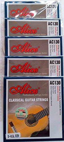 Alice AC130N - 5 cuerdas para guitarra clásica individual D 4ª cuerda, Nylon, tensión normal