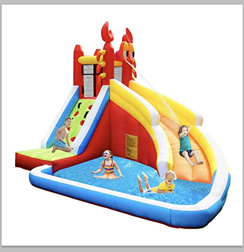 Step4Fun Inflatable Water Slide, Kids Bounce House with Splash Pool and Long Slide for Backyard Indoor and Outdoor Party, Including Blower, Repair kit, Stakes, idea for Kids