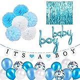 SZHUIHER Decoraciones para Baby Shower para niño, Globos de Papel de Aluminio para niño, Flores con pompón, Globos de látex, Cortina con Flecos, Pancarta para Baby Shower con It is A Boy