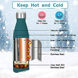 king do way Bouteille d'eau portable thermique, acier inoxydable bleu 500ml