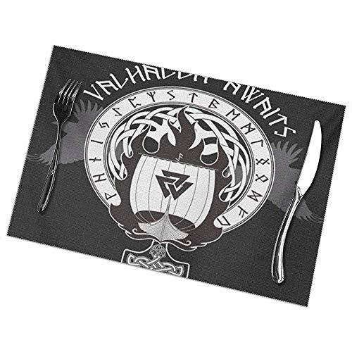 hdyefe Tischsets 6er-Set für Esstisch, Weihnachts-Oster- und Feiertags-Tischsets Blue Boat Warship der Wikinger Drakkar On Fire und Norse Runes Black Warrior Flag