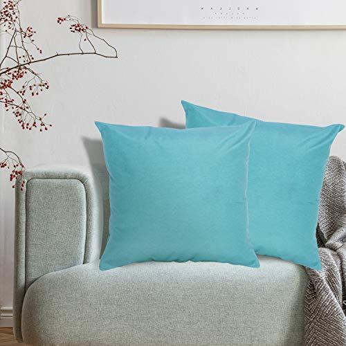 Viste tu hogar Pack 2 Fundas de Cojin 50x50 cm, Algodón y Poliéster, para Decoración de Hogar en Color Azul Turquesa Liso.
