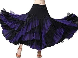Damen Moderner Maxirock Tanzrock Hippie Bauchtanz Rock Tanzen Kostüm Walzer Tango Ballsaaltanz Schaukelrock