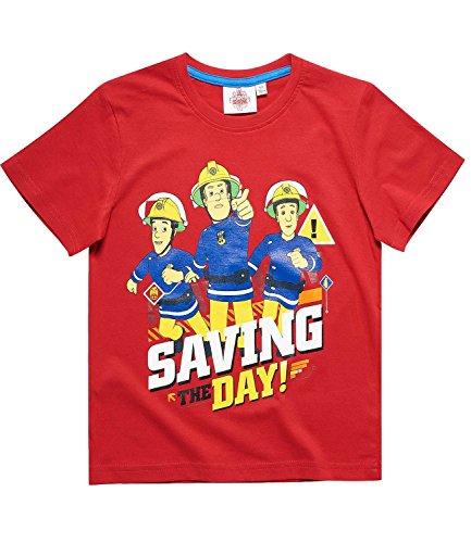 Feuerwehrmann Sam Kollektion 2018 T-Shirt 92 98 104 110 116 122 128 Shirt Fireman Sam Jungen Neu Top Feuerwehrauto 2018 Blau (Rot, 134-140)