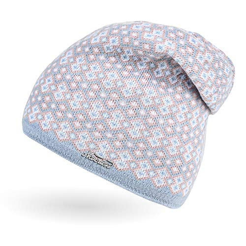 Neverless® Damen Strick-Mütze Beanie gefüttert Fleece Innenfutter Winter-Mütze Rautenmuster hellblau