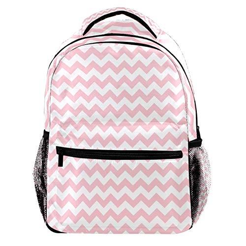 Pink and White Chevron Pattern Laptop Backpack for Men School Bookbag Travel Rucksack Daypack School Bag for Women Girls